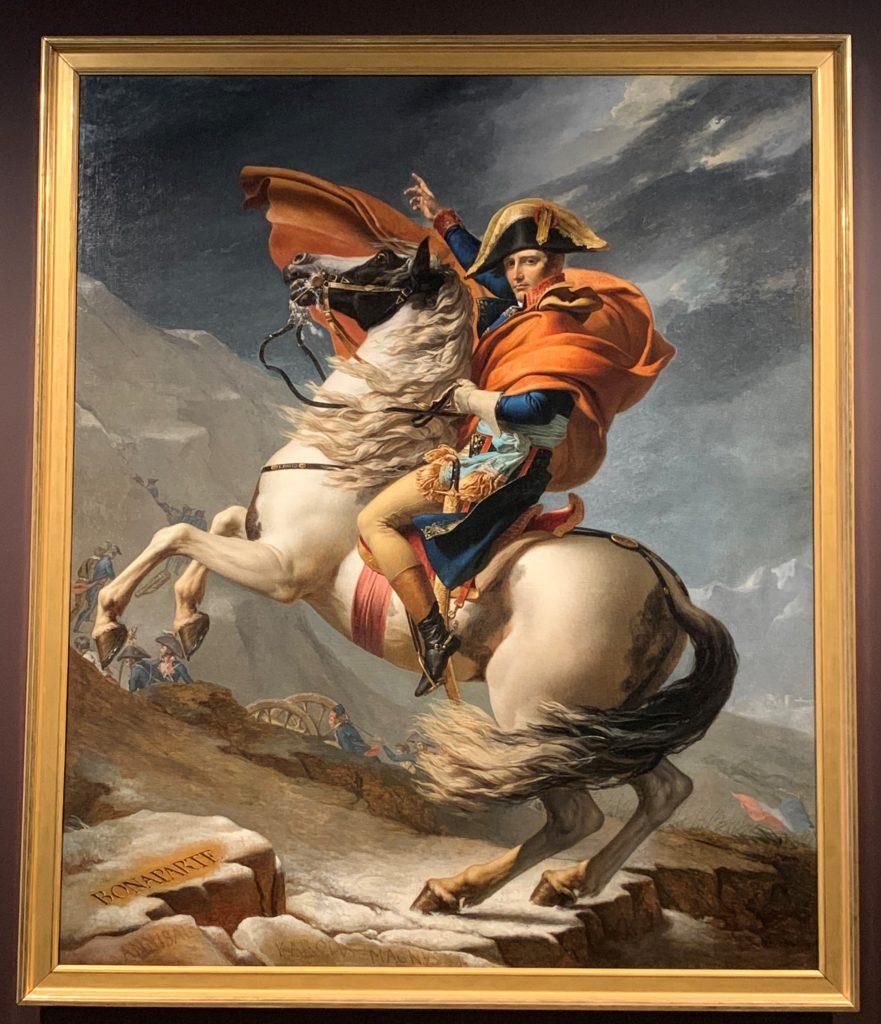 Jacques-Louis David, Napoleon Bonaparte, First Consul, Crossing the Alps on 20 May 1800, France, 1803, H. 268, W. 224 cm; oil on canvas, Musée national Des Châteaux De Versailles et De trianon , MV 8550