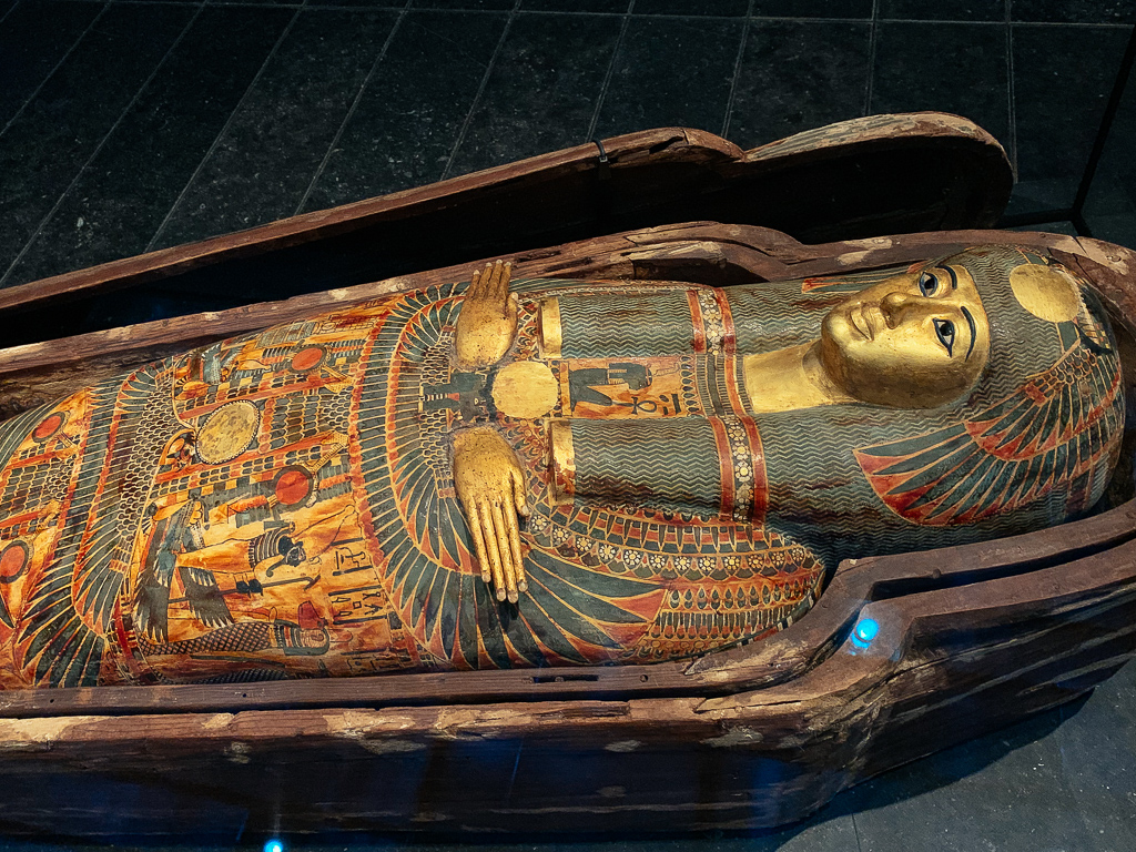 Sarcophagus of Princess Henuttawy: coffins and mummy wrappings, Egypt, 950–900 BCE, H. 180 cm; painted wood, stuccoed and painted cloth, Louvre Abu Dhabi, LAD 2014.023.001