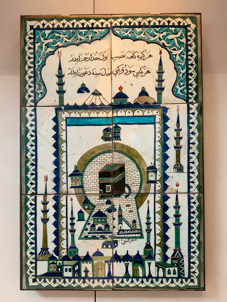 """Mecca"" panel showing the holy mosque Al-Masjid al-Haram Turkey, Isnik 1650-1700, H. 81, W. 54 cm; ceramic with underglaze decoration, Musée du Louvre"
