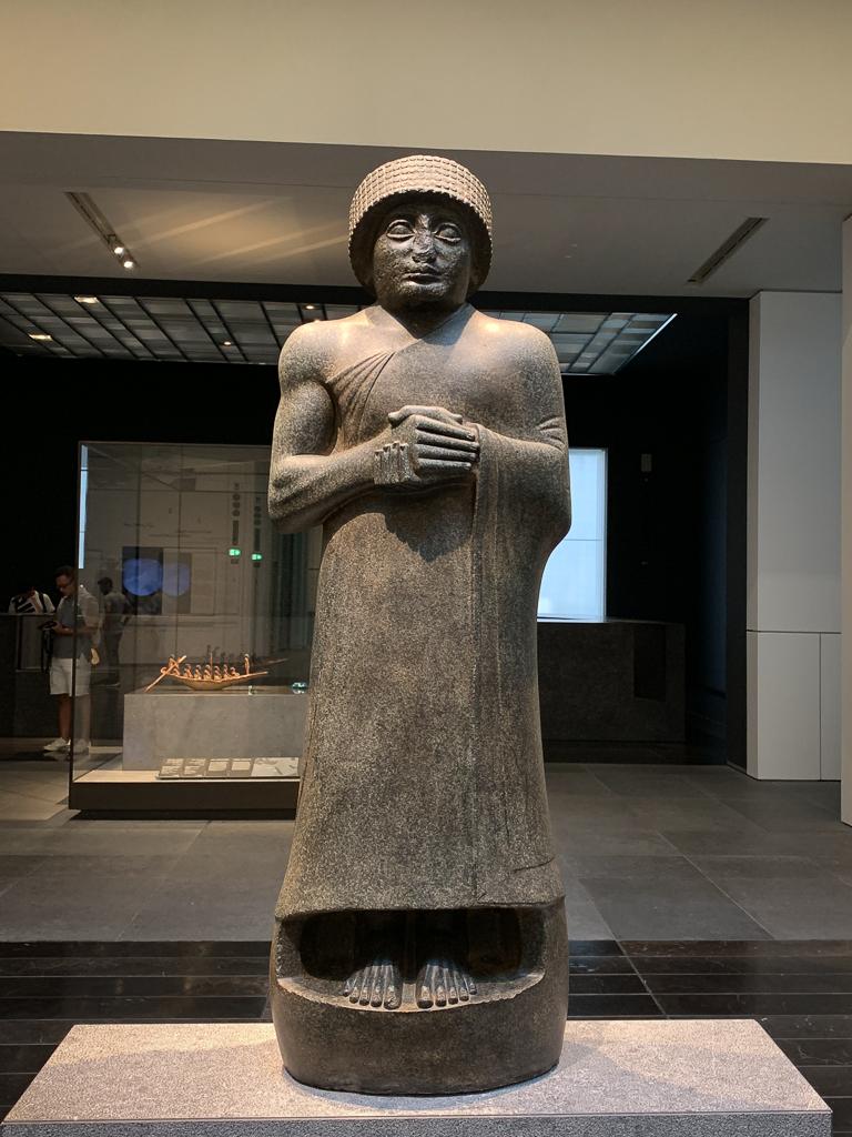 Gudea, Prince of Lagash, Iraq, Girsu, c. 2120 BCE, H. 107 cm; black stone, Musée Du Louvre