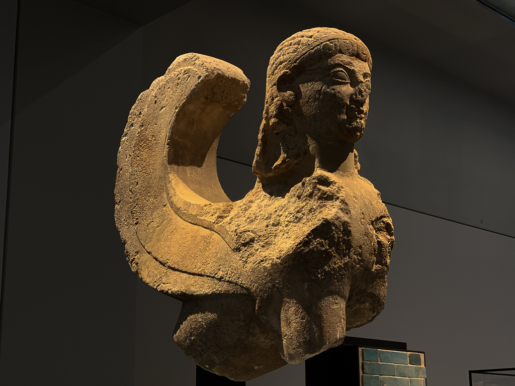 Sphinx, mythological creature, Greece or Italy, 600–500 BCE, H. 57 cm; limestone, Louvre Abu Dhabi, LAD 2013.004