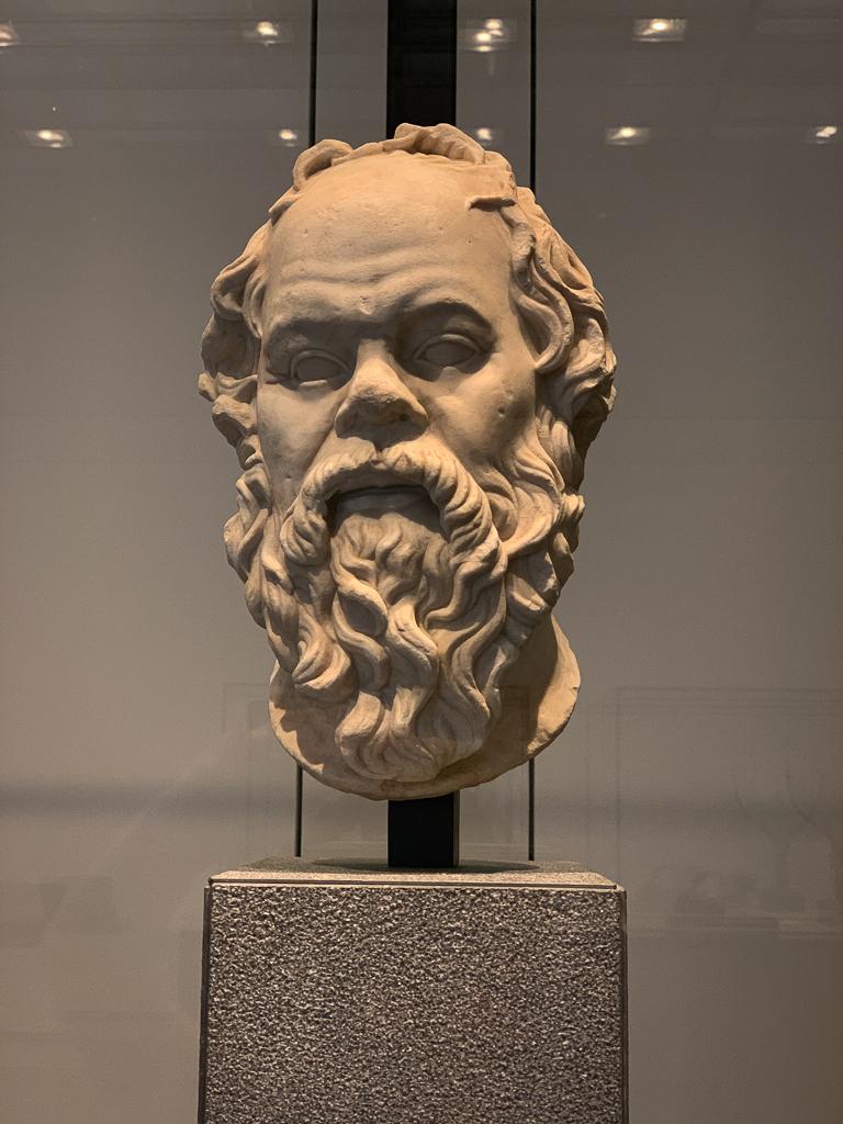 Portrait Socrates (Roman replica of a Greek original) In the style of Lysippos(?) Roman empire 1-100CE, H. 33.5 cm; marble, Musée du Louvre