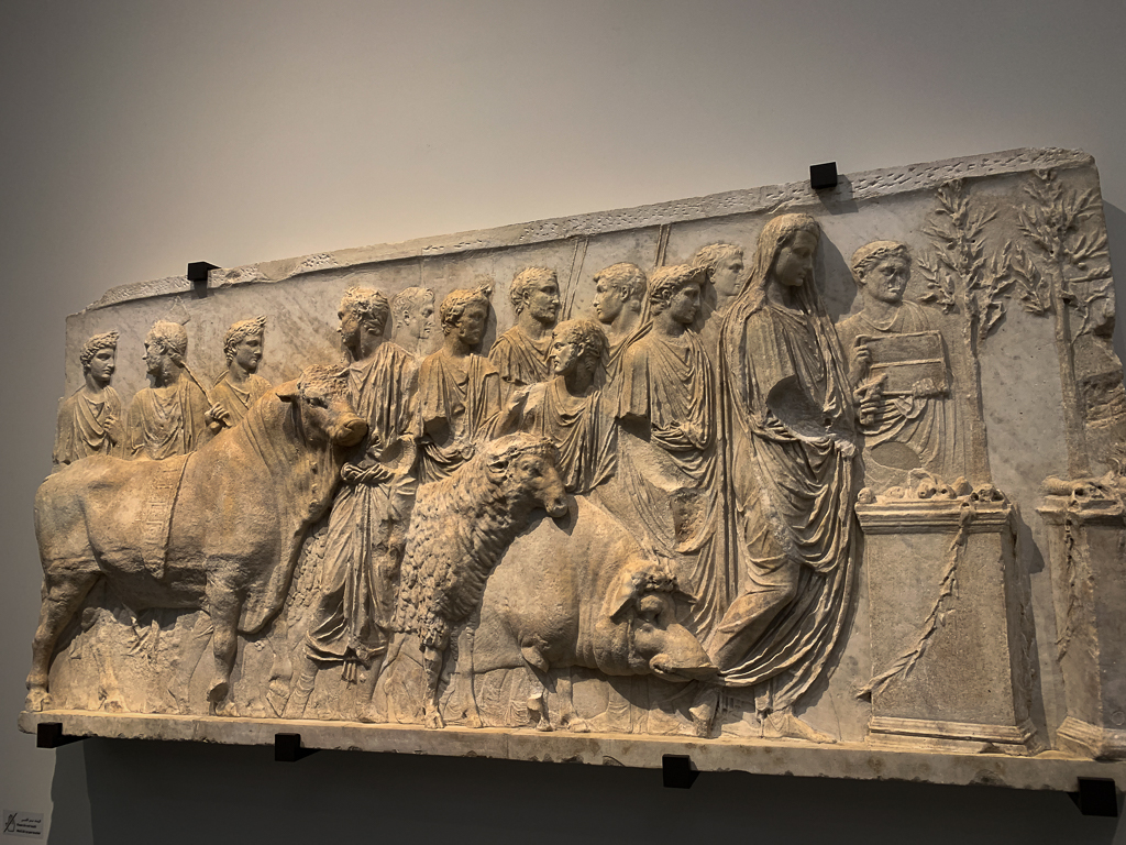 Fragment of an architectural relief: ritual sacrifice Italy, Rome 15-16 CE, H. 90, W. 230 cm; marble, Musée du Louvre