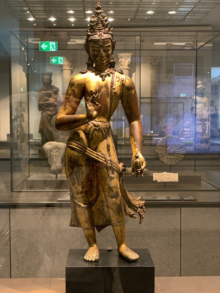 Maitreya, a Buddha in a time yet to come, Nepal, 1100–1200, H. 52 cm; copper gilt, semiprecious stones, Louvre Abu Dhabi, LAD 2014.033