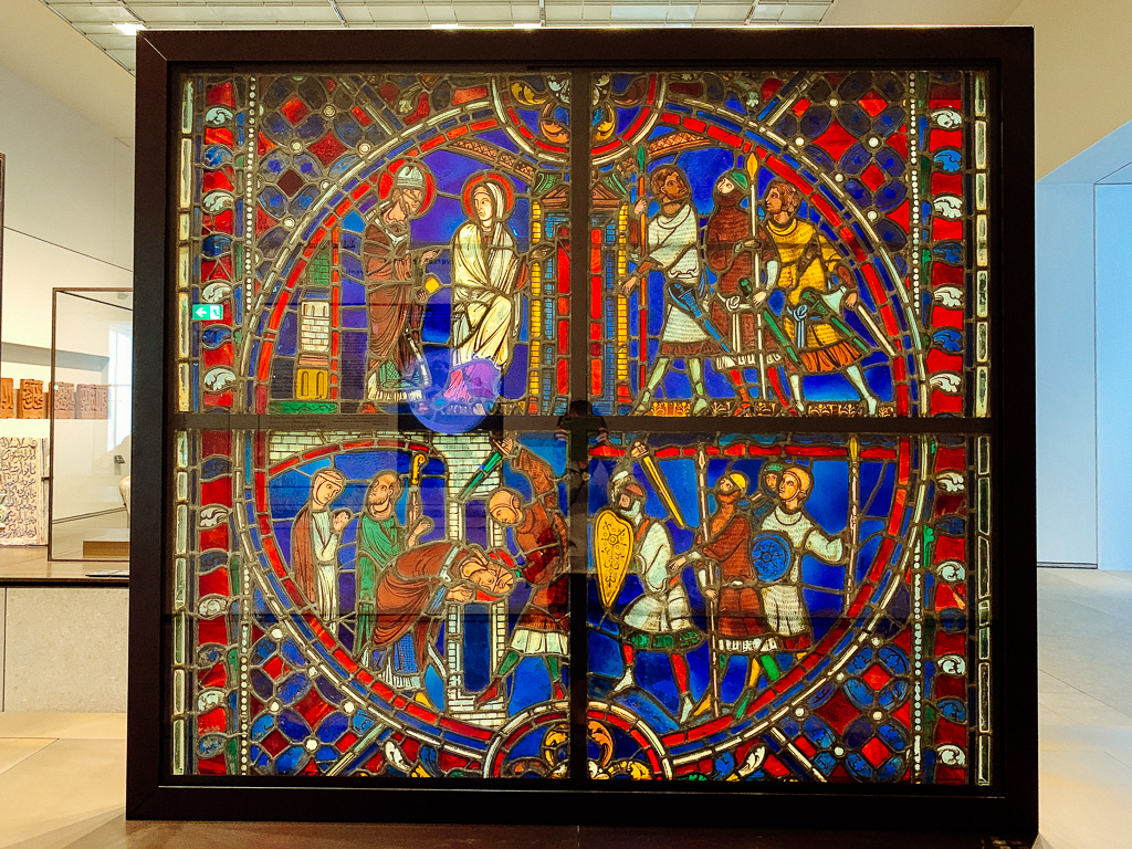Scenes from the life of St Nicasius France, Soissons region 1200-25, H. 140, W. 154 cm; window: glass and lead, Musée du Louvre