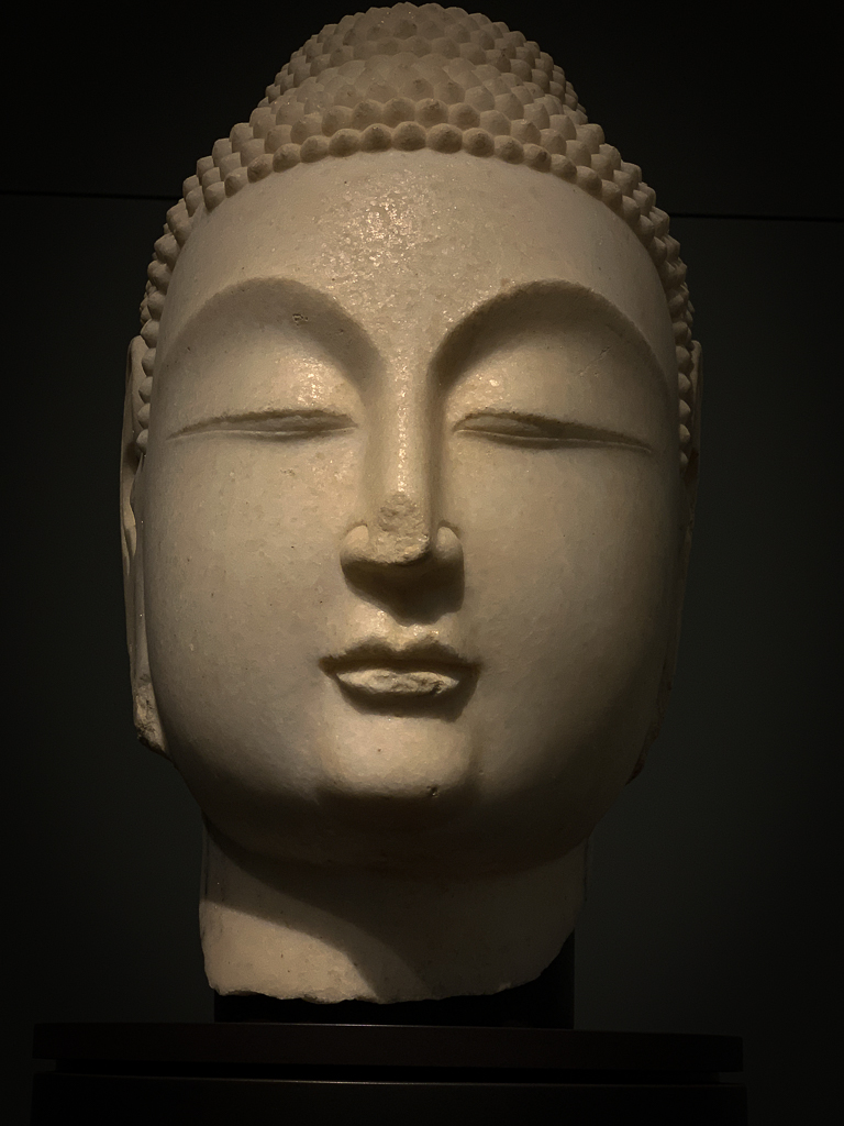 Buddha head, Eastern Wei or Northern Qi dynasty Northern China 530-580, H. 51cm; white marble