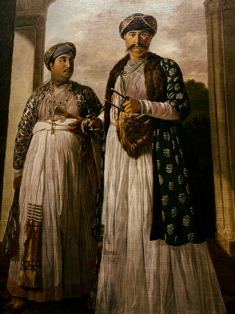 Shuja'al Duala, Vice-Roy of the Mughal Empire, and his Son, TILLY KETTLE India, Faizabad 1772 H. 243, W. 167 cm; oil on canvas Musée national du Château de Versailles et de Trianon